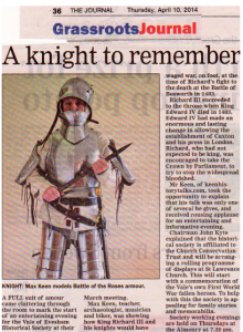 Knight Remembered- journal write up April 2015